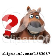 3d Chubby Brown Horse Holding A Question Mark On A White Background