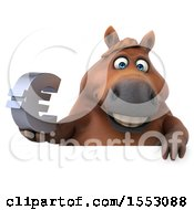 3d Chubby Brown Horse Holding A Euro On A White Background