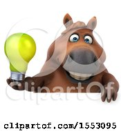 Poster, Art Print Of 3d Chubby Brown Horse Holding A Light Bulb On A White Background