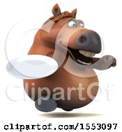 3d Chubby Brown Horse Holding A Plate On A White Background