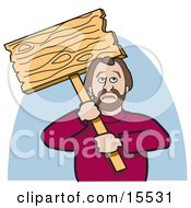Caucasian Man Holding Up A Blank Wooden Sign While Picketing And On Strike Clipart Illustration