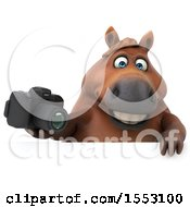 3d Chubby Brown Horse Holding A Camera On A White Background