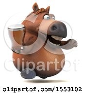 Poster, Art Print Of 3d Chubby Brown Horse Holding A Beer On A White Background
