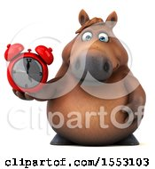 3d Chubby Brown Horse Holding An Alar Clock On A White Background