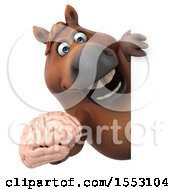 3d Chubby Brown Horse Holding A Brain On A White Background