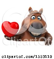 Poster, Art Print Of 3d Chubby Brown Horse Holding A Heart On A White Background