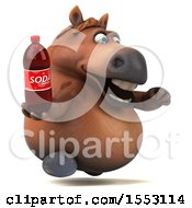 3d Chubby Brown Horse Holding A Soda On A White Background