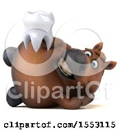 3d Chubby Brown Horse Holding A Tooth On A White Background