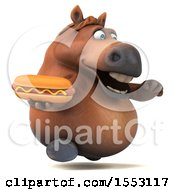 3d Chubby Brown Horse Holding A Hot Dog On A White Background