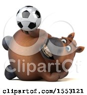 3d Chubby Brown Horse Holding A Soccer Ball On A White Background