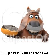 3d Chubby Brown Horse Holding A Donut On A White Background