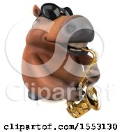 3d Chubby Brown Horse Playing A Saxophone On A White Background