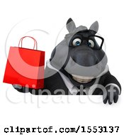 Clipart Of A 3d Chubby Black Business Horse Holding A Shopping Bag On A White Background Royalty Free Illustration