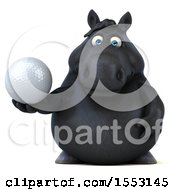 3d Chubby Black Horse Holding A Golf Ball On A White Background