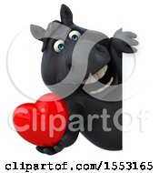 Poster, Art Print Of 3d Chubby Black Horse Holding A Heart On A White Background
