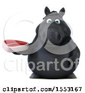 3d Chubby Black Horse Holding A Steak On A White Background