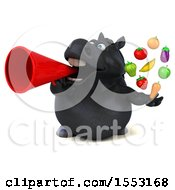 3d Chubby Black Horse Holding Produce On A White Background