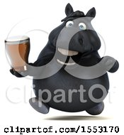 Poster, Art Print Of 3d Chubby Black Horse Holding A Beer On A White Background