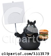 3d Chubby Black Horse Holding A Burger On A White Background