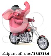 Clipart Of A 3d Pink Elephant Riding A Chopper Motorcycle On A White Background Royalty Free Illustration