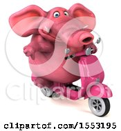 Clipart Of A 3d Pink Elephant Riding A Scooter On A White Background Royalty Free Illustration