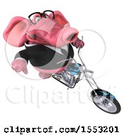 Clipart Of A 3d Pink Business Elephant Biker Riding A Chopper Motorcycle On A White Background Royalty Free Illustration