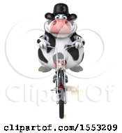 Clipart Of A 3d Holstein Cow Biker Riding A Chopper Motorcycle On A White Background Royalty Free Illustration