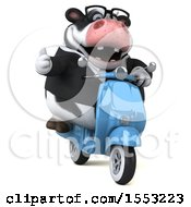 Clipart Of A 3d Business Holstein Cow Riding A Scooter On A White Background Royalty Free Illustration by Julos