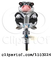 Clipart Of A 3d Business Holstein Cow Riding A Chopper Motorcycle On A White Background Royalty Free Illustration by Julos