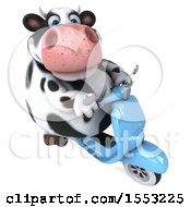Clipart Of A 3d Holstein Cow Riding A Scooter On A White Background Royalty Free Illustration by Julos