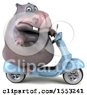 Clipart Of A 3d Hippo Riding A Scooter On A White Background Royalty Free Illustration