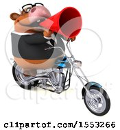 Clipart Of A 3d Brown Business Cow Riding A Chopper Motorcycle On A White Background Royalty Free Illustration
