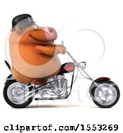 Clipart Of A 3d Brown Cow Riding A Chopper Motorcycle On A White Background Royalty Free Illustration