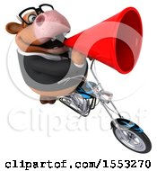 Clipart Of A 3d Brown Business Cow Biker Riding A Chopper Motorcycle On A White Background Royalty Free Illustration