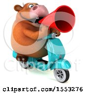 Clipart Of A 3d Brown Cow Riding A Scooter On A White Background Royalty Free Illustration by Julos