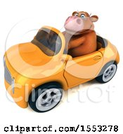 Clipart Of A 3d Brown Cow Driving A Convertible On A White Background Royalty Free Illustration by Julos