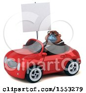 Clipart Of A 3d Business Orangutan Monkey Driving A Convertible On A White Background Royalty Free Illustration