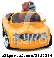 Clipart Of A 3d Orangutan Monkey Driving A Convertible On A White Background Royalty Free Illustration