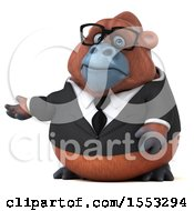 Clipart Of A 3d Business Orangutan Monkey Presenting On A White Background Royalty Free Illustration