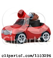 Clipart Of A 3d Business Orangutan Monkey Driving A Convertible On A White Background Royalty Free Illustration by Julos