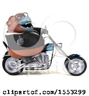 Clipart Of A 3d Business Orangutan Monkey Biker Riding A Chopper Motorcycle On A White Background Royalty Free Illustration