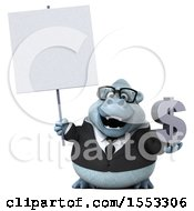 Clipart Of A 3d White Business Monkey Yeti Holding A Dollar Sign On A White Background Royalty Free Illustration