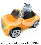 Poster, Art Print Of 3d White Business Monkey Yet Driving A Convertible On A White Background