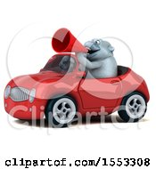 Poster, Art Print Of 3d White Monkey Yet Driving A Convertible On A White Background