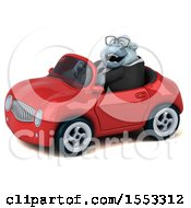 Clipart Of A 3d White Business Monkey Yeti Driving A Convertible On A White Background Royalty Free Illustration