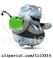 Poster, Art Print Of 3d White Business Monkey Yeti Holding A Gas Can On A White Background