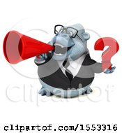 Clipart Of A 3d White Business Monkey Yeti Holding A Question Mark On A White Background Royalty Free Illustration