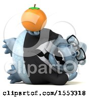 Clipart Of A 3d White Business Monkey Yeti Holding An Orange On A White Background Royalty Free Illustration