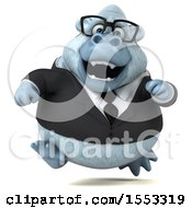 Clipart Of A 3d White Business Monkey Yeti Running On A White Background Royalty Free Illustration