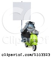 Clipart Of A 3d Business Gorilla Mascot Riding A Scooter On A White Background Royalty Free Illustration